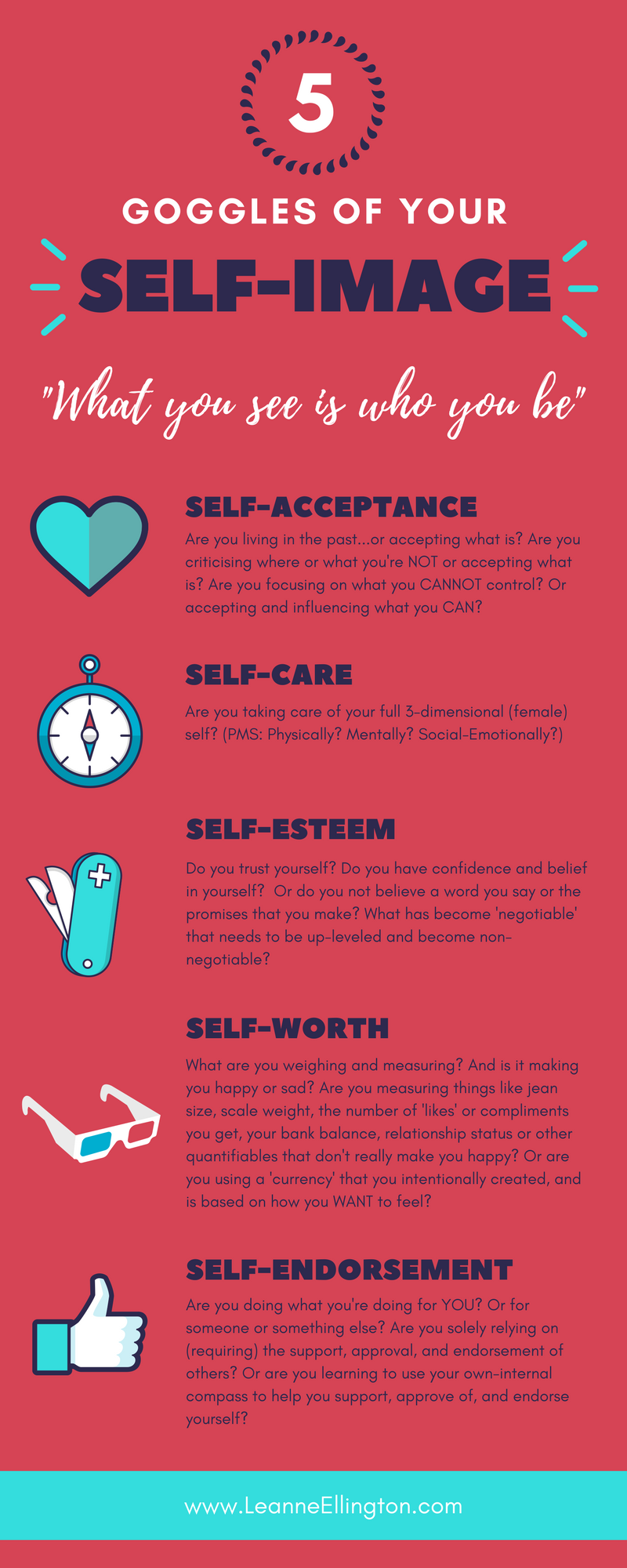 The 5 Goggles of Your Self Image, Self Acceptance, Self Love, Self Esteem, Self Worth
