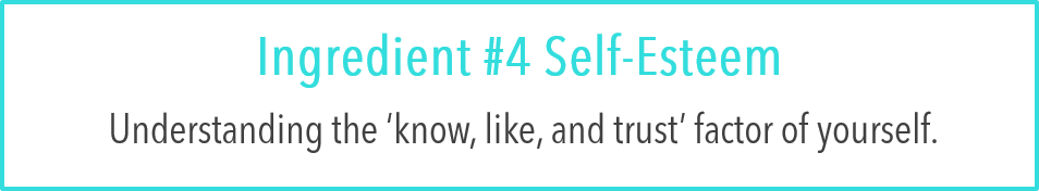 Ingredient #4 Self-Esteem:  Understanding the 'know, like, and trust' factor of yourself.